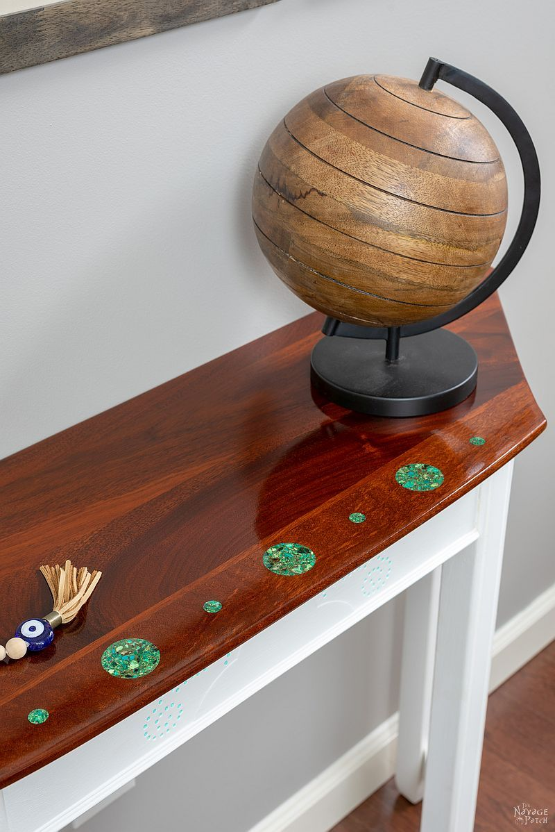 Turquoise Inlay Console – A Dining Table Upcycle   Console Table With Turquoise Inlay   Upcycled furniture   DIY stone inlay   Homemade chalk paint   How to inlay stone   #TheNavagePatch #diy #paintedfurniture #upcycled #woodworking #furnituremakeover #Turquoise   TheNavagePatch.com