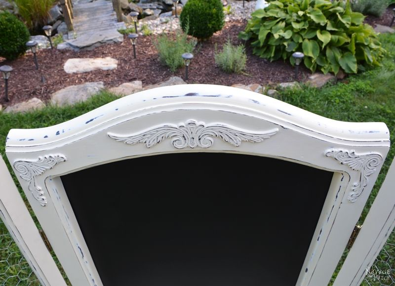 Vintage Mirror to Command Center | DIY furniture makeover| Upcycled furniture | DIY command center | Repurposed tri-fold mirror | Homemade chalk paint | Painted furniture | Farmhouse style furniture | Annie Sloan Old White color | Painted and distressed furniture makeover | Ornate furniture | Transformed furniture | Before & After | TheNavagePatch.com