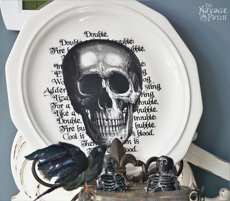 Pottery Barn Inspired Halloween Plates | DIY Halloween decoration | How to image transfer on ceramic | DIY knockoff decor | Free printables for Halloween | DIY image transfer on hard surfaces | Upcycled holiday decoration | #TheNavagePatch #upcycled #diy #Halloween #freeprintable #crafts #mypotterybarn #PBKnockoff #PotteryBarn #Modpodge #easydiy | TheNavagePatch.com