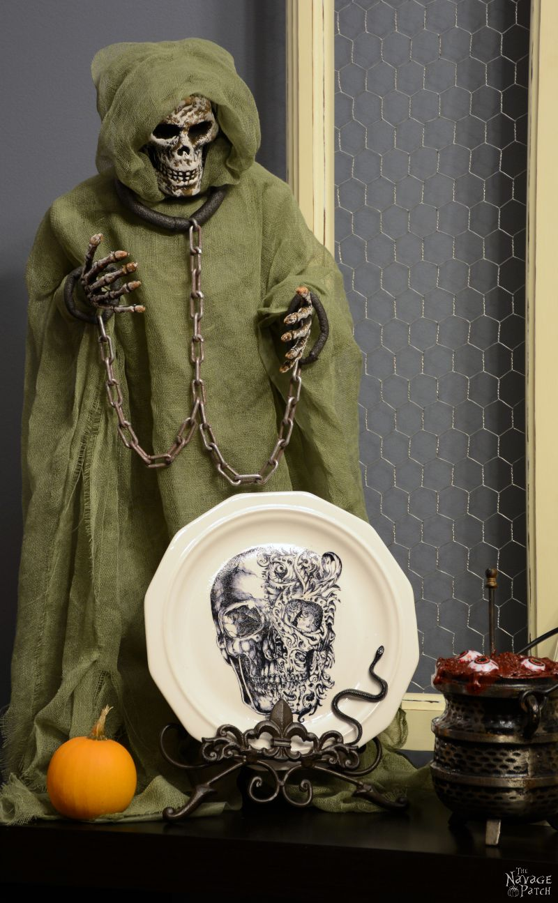 Dishes of Darkness - Pottery Barn Inspired Halloween Plates | DIY Halloween decoration | How to image transfer on ceramic | DIY knockoff decor | Free Halloween printable | Skull, spider and raven printable | Edgar Allan Poe - The Raven | DIY image transfer on hard surfaces | Upcycled holiday decoration | Cheap & easy crafts | #upcycled #diy #Halloween #crafts | TheNavagePatch.com