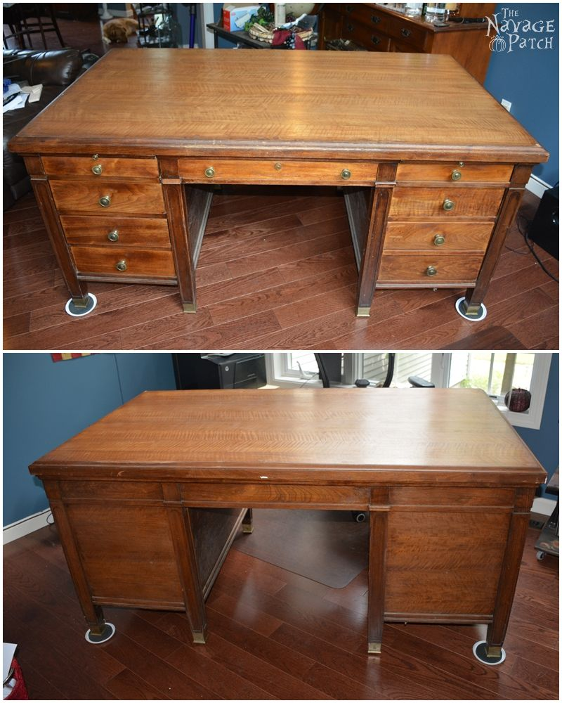 Old Wooden Desk ~ Vintage desk makeover the navage patch