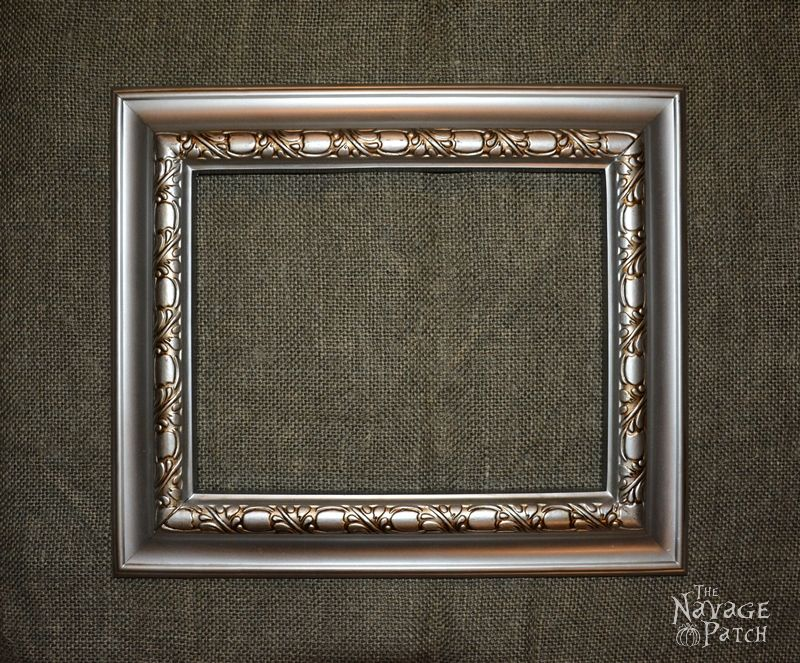 Plastic Frame Upcycled To Cork Board | DIY picture frame makeover | Painted and distressed plastic frame | Multipurpose picture frame | DIY organization board | How to make a cork board | How to paint and distress plastic frames | Before & After | DIY cork board pins | Multi-purpose picture frame | DIY home decor | TheNavagePatch.com