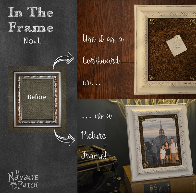 In the Frame - No.1   DIY picture frame makeover   Painted and distressed plastic frame   Multipurpose picture frame   DIY organization board   How to make a cork board   How to paint and distress plastic frames   Before & After   DIY cork board pins   Multi-purpose picture frame   DIY home decor   TheNavagePatch.com