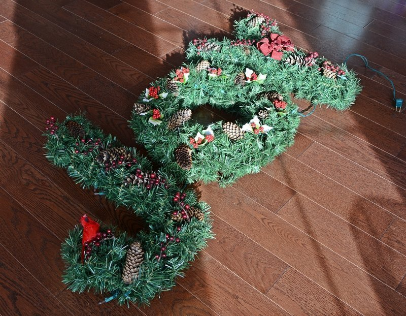JOY Wreath (Inspired By Ballard Designs) | Ballard Designs knockoff decoration | How to make a monogram wreath | Lighted Christmas Wreath | DIY knockoff holiday decor | Upcycled Christmas decoration | #TheNavagePatch #DIY #Upcycled #Christmas #Christmascrafts #Holidays #Holidaydecor #DIYChristmas | TheNavagePatch.com