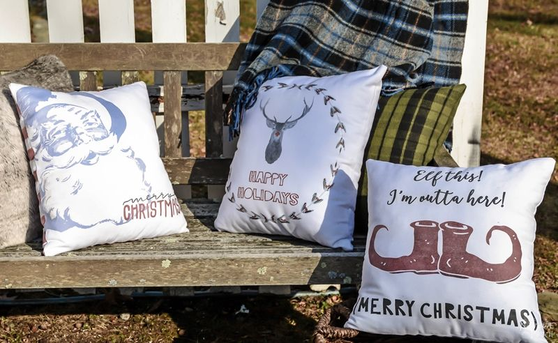 Double Sided Christmas Pillows   Diy Christmas decoration   No sew Christmas pillows   Free printable Christmas pillow designs   Free Christmas printable   Double sided Christmas pillows   Cheap & easy crafts   Simple sewing   How to image transfer to fabric   Diy image transfer   #diy #Christmas #crafts   TheNavagePatch.com