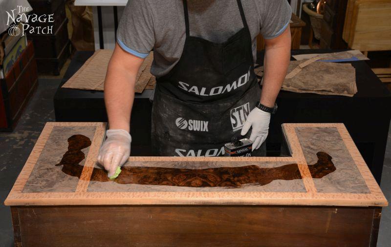 Veneer & Loathing   Antique desk makeover using exotic wood veneer and chalk paint   Diy veneer tutorial   How to apply veneer   How to replace veneer   Diy furniture makeover and woodworking   DIY Chalk Paint   Refurbished desk   Before & After   TheNavagePatch.com