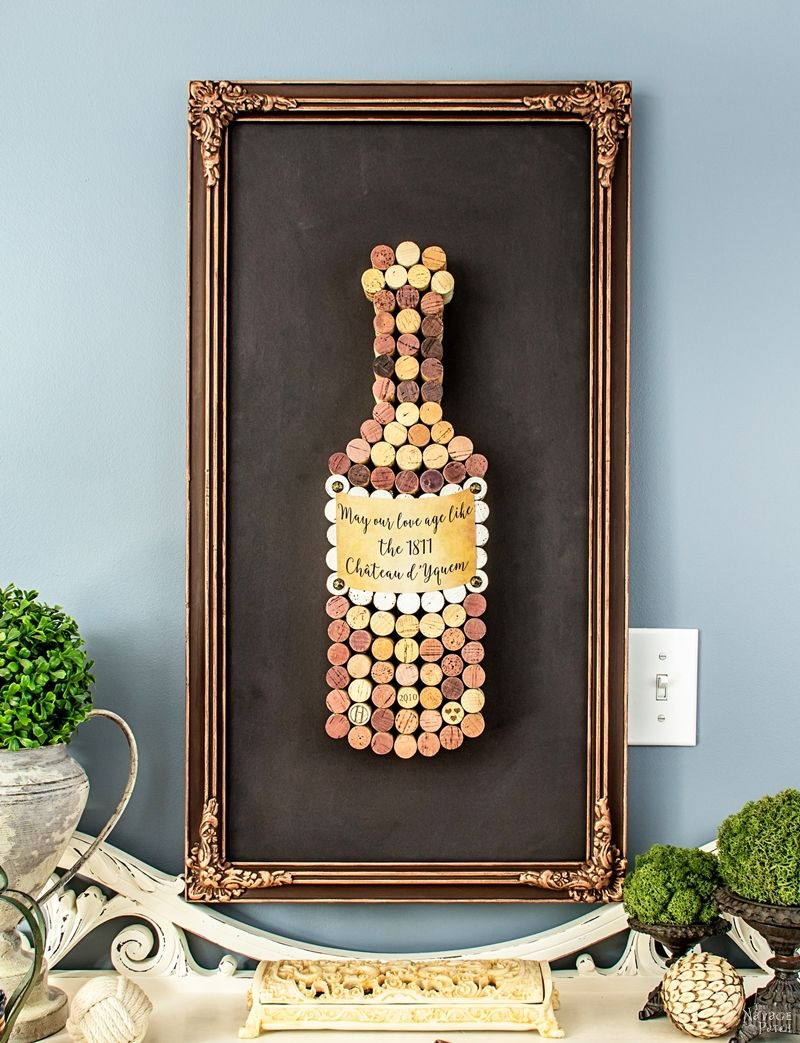 Cork Art for the Cork Dork | DIY wall art with wine cork | Valentine's day wall art | DIY wall art for wine lover | Upcycled wine cork | DIY Frame makeover | DIY home decor | DIY wall decor | TheNavagePatch.com