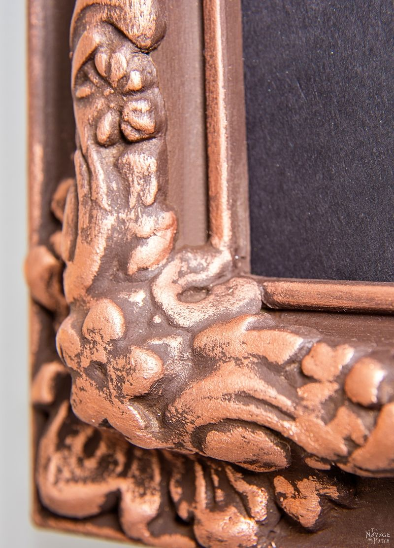 Ornate Frame Makeover | DIY frame makeover | How to use Rub-n-buff | How to gild with metallic wax | DIY home decor | Before & After | How to apply metallic wax | How to paint a picture frame | TheNavagePatch.com