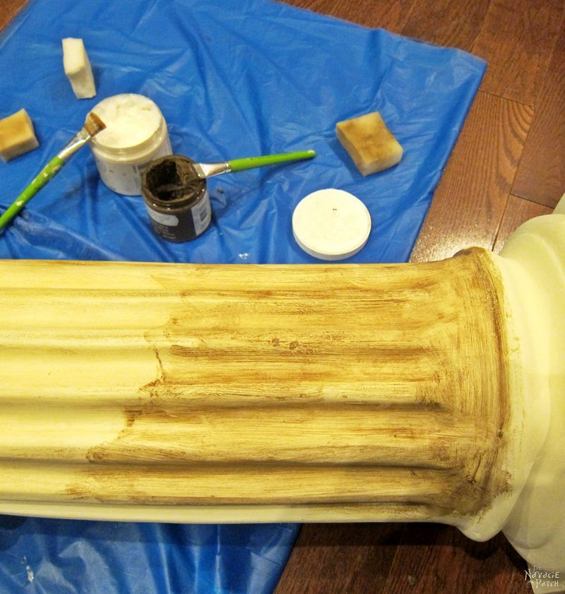 Column Pedestal: Ruins Revival Style   Column pedestal makeover with homemade chalk paint   Homemade chalk paint recipe   How to stencil with metallic wax   How to apply antiquing wax   Step-by-step tutorial for antiquing and metallic wax   English gardens   DIY garden decor   TheNavagePatch.com