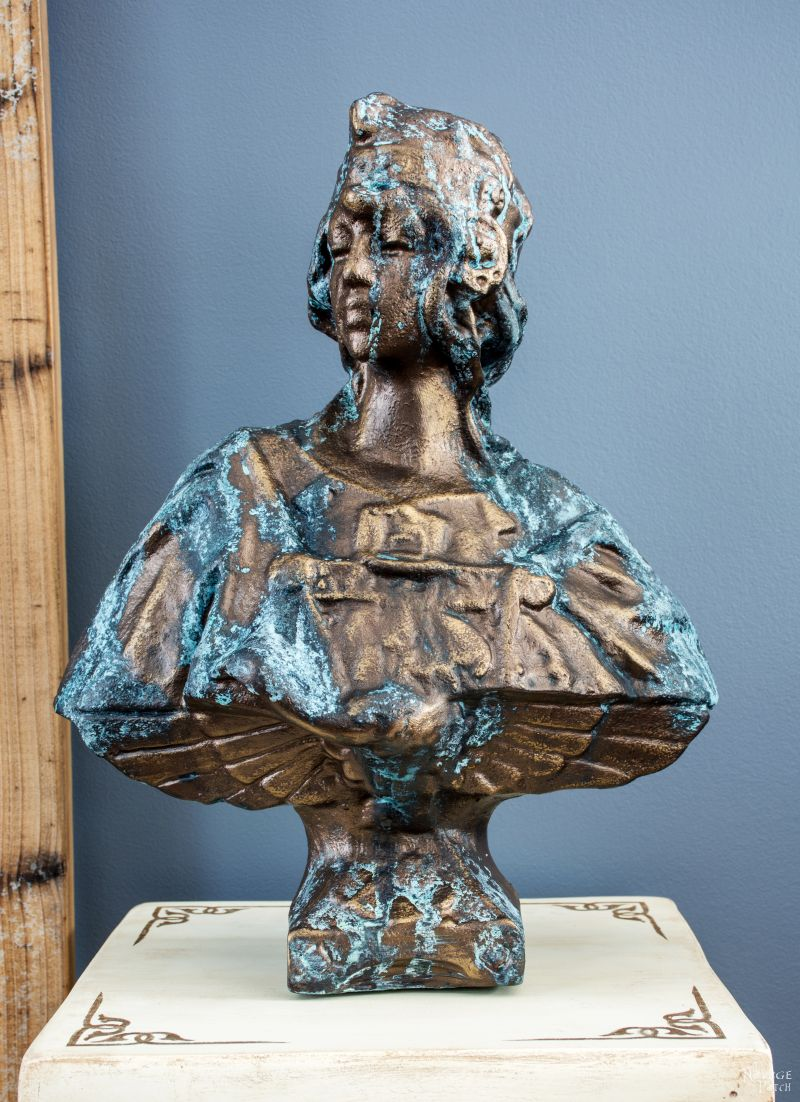 How To Create Faux Patina {Oxidized Bronze Finish Tutorial}   DIY garden decor   Bronze bust with faux patina   Updating an old ceramic bust with Modern Masters reactive paint   How to work with Modern Masters reactive paint   English gardens   Painted home decor   TheNavagePatch.com