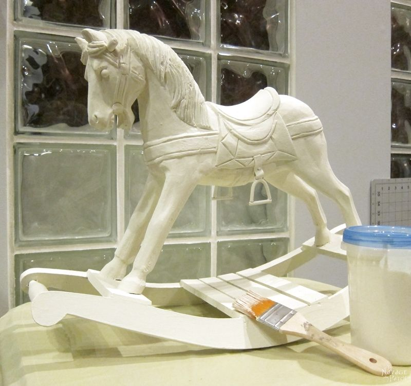 Rocking Horse Makeover   DIY vintage horse makeover   Updating home decor with homemade chalk paint   Homemade chalk paint recipe   How to apply metallic wax   How to apply antiquing wax   Girl's bedroom decor   TheNavagePatch.com