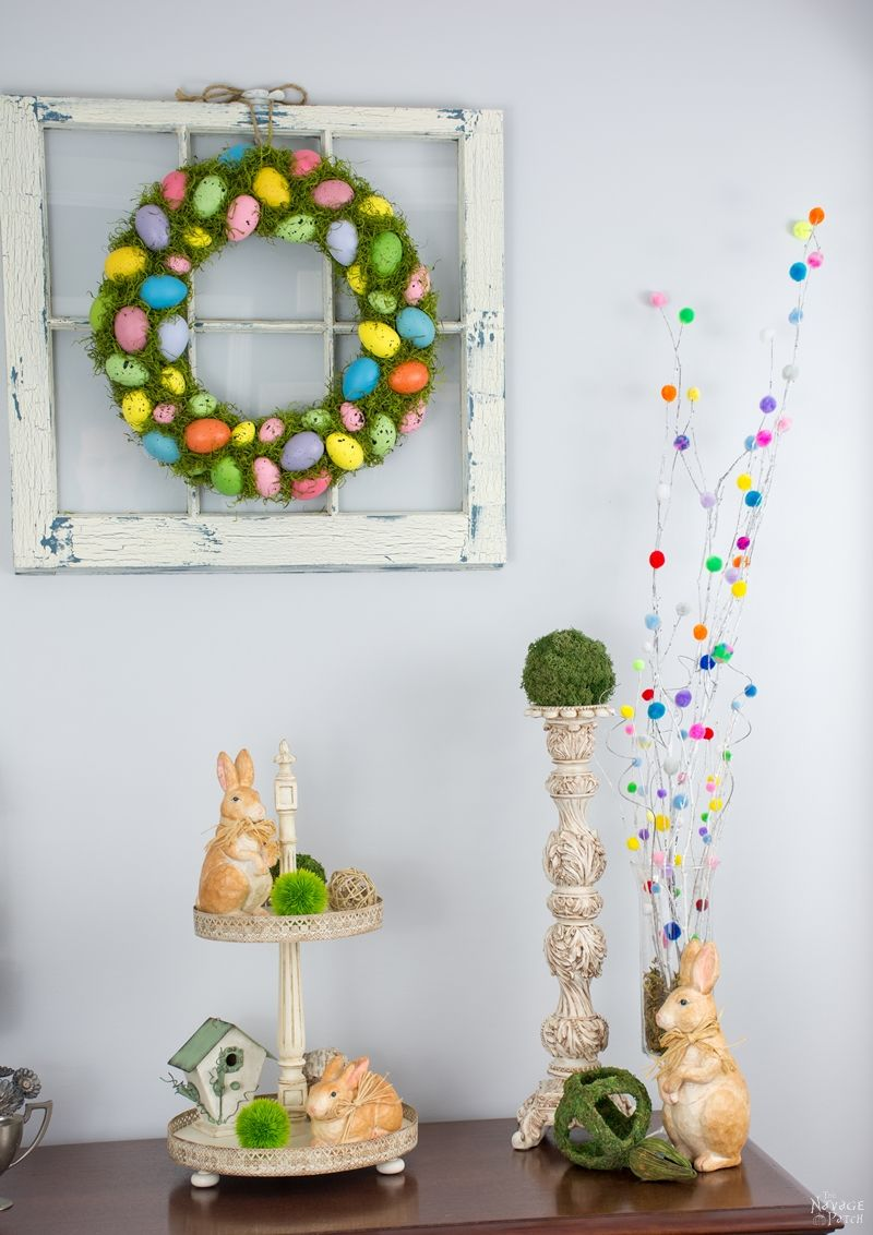 Cheerful Spring Wreath and Tree | Spring and Easter wreath | How to make a wreath | Colorful Easter eggs and moss wreath and topiary | How to make a Easter topiary | Easter and spring home decor | Handmade wreath and topiary | TheNavagePatch.com