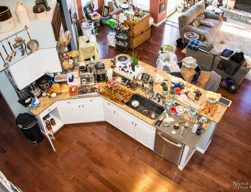 overhead shot of a messy kitchen counter