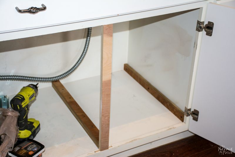 cabinet under stove with new center support