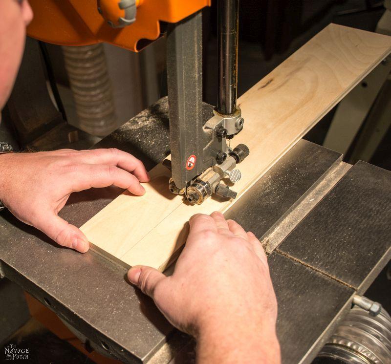 cutting plywood on a band saw