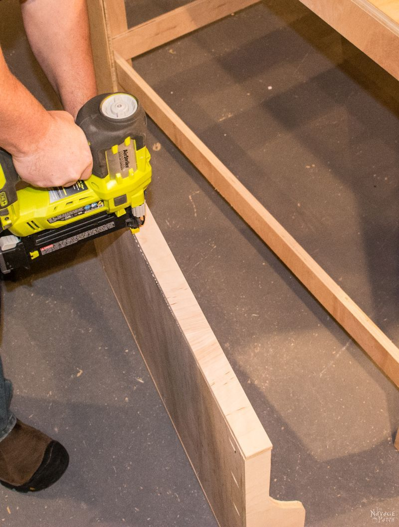 using a brad nailer to build sliding shelves