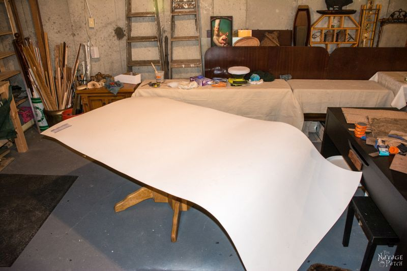 sheet of polywall on a table