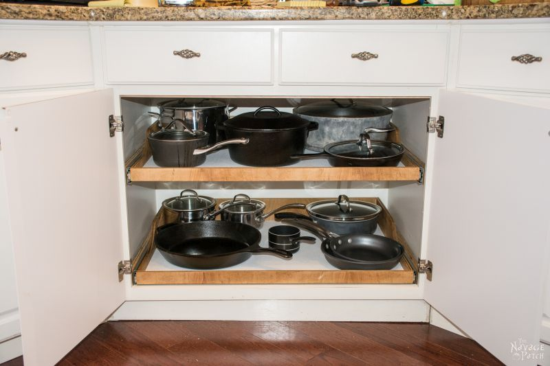 Pots And Pans On Diy Sliding Shelves