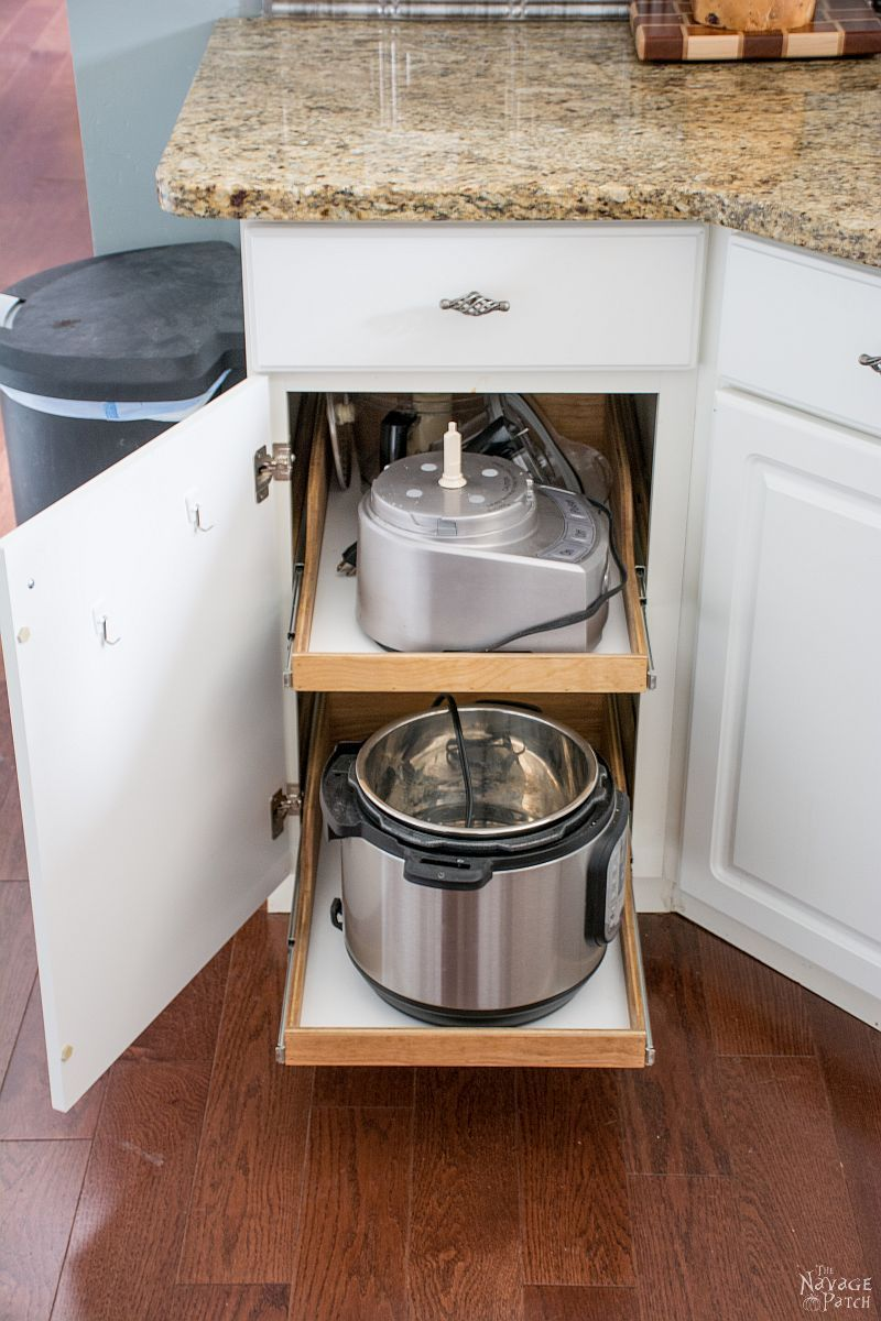 appliances on diy pullout shelves