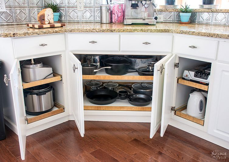 pots, pans and appliances on diy roll out shelves