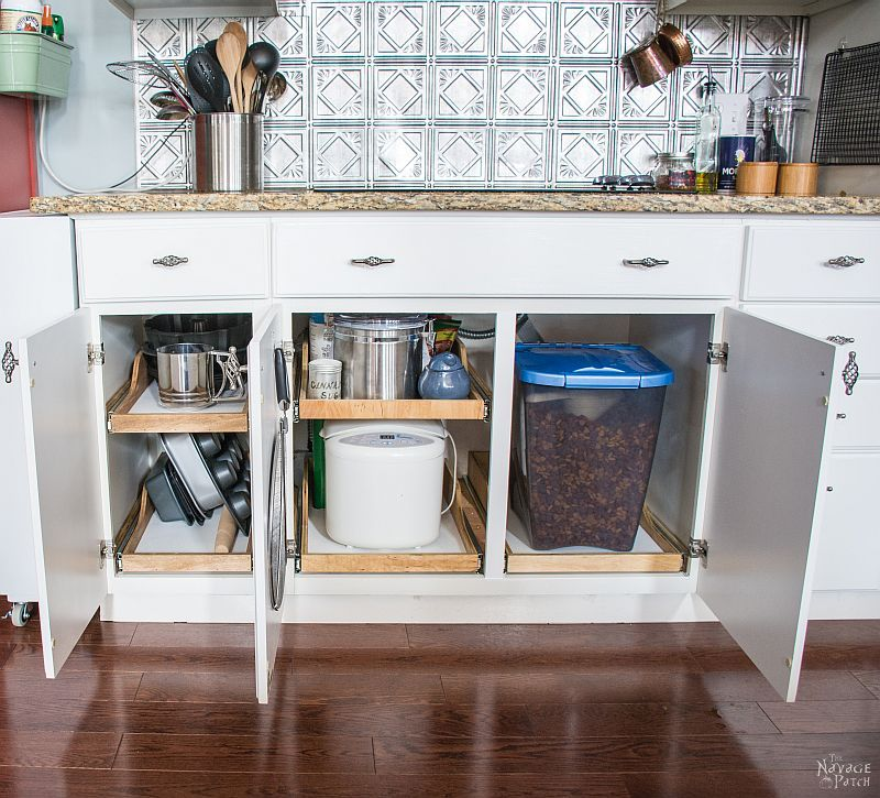 diy slide out shelves under the stove