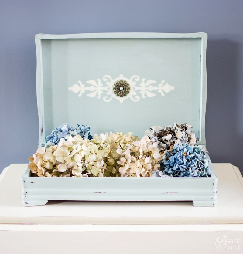 Silverware Box Makeover | Upcycled silverware box | DIY painted and stenciled home decor | Homemade chalk paint recipe | How to stencil furniture | How to line furniture with fabric | Before & After | Updating home decor with DIY chalk paint | TheNavagePatch.com