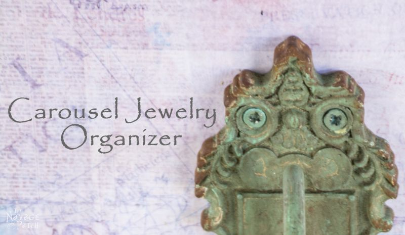 Carousel Jewelry Organizer | Upcycled sample-size cabinet door | How to decoupage | Free printable decoupage paper | Homemade chalk paint recipe | Before & After | Farmhouse style jewelry organizer | DIY home decor and organization | TheNavagePatch.com