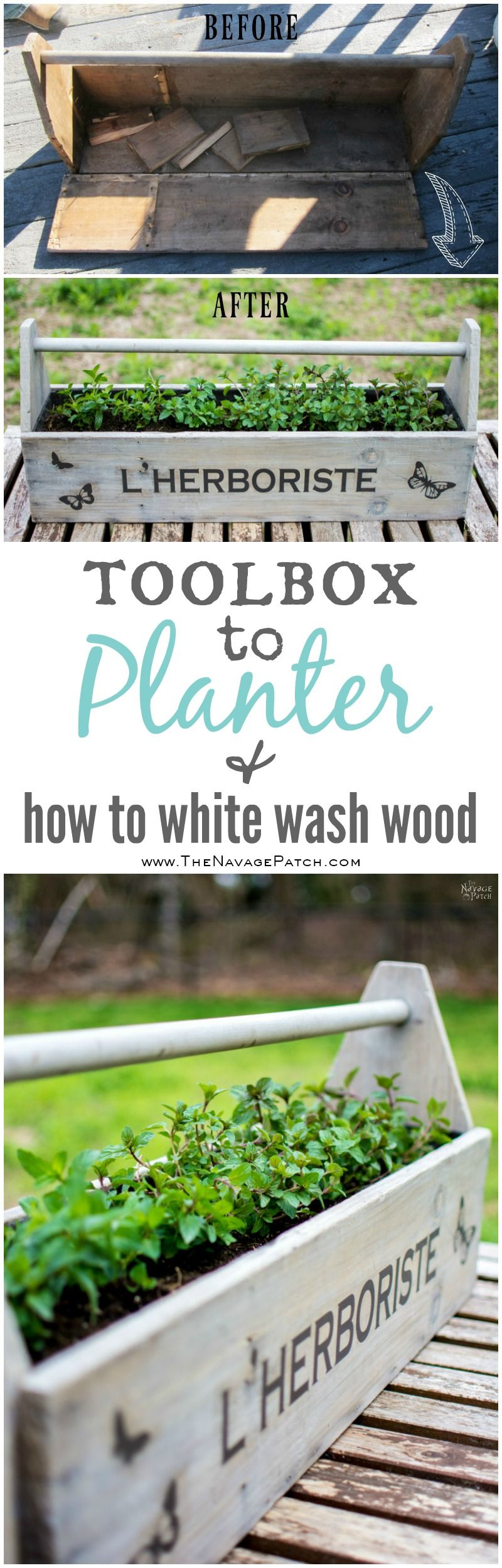 Toolbox to Planter | Upcycled toolbox | DIY wooden herb planter | How to white wash wood | How to stencil | White washing tutorial | L' Herboriste planter | TheNavagePatch.com