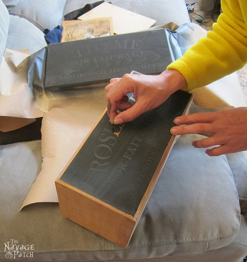 DIY Nesting Herb Boxes | DIY wooden herb crates | Step-by-step hanging herb crate tutorial | Farmhouse style rustic decor | Free stencil | Free printable | Scarborough Fair | Scrap wood home decor | Stenciled home decor | How to stencil | Festive home decor | Cheap & easy crafts | Home decor on a budget | Simple woodworking | #TheNavagePatch #DIY #Farmhouse #FreePrintable #Stencil | TheNavagePatch.com