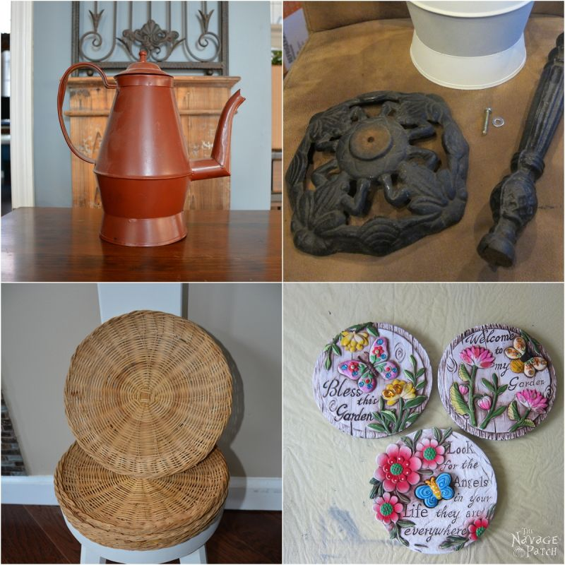 DIY Garden Decor | Upcycled & repurposed garden decor | Whimsical teapot garden decor | Upcycled bamboo plates | Dollar store crafts | Rust Oleum Robin's egg color | #TheNavagePatch #DIY #gardendecor #upcycled #repurposed #DollarStore #DollarTree #garden #Dollartreediy #rustoleum | TheNavagePatch.com