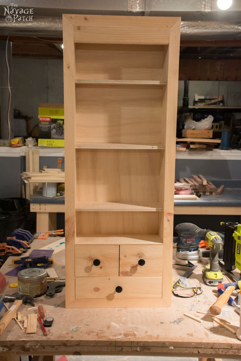 DIY In-Wall First Aid Cabinet | Step-by-step built-in tutorial | DIY first aid cabinet | How to built a small cabinet | Inexpensive DIY furniture | Home decor and organization | #TheNavagePatch #diy #diyfurniture #cabinet #organization #builtin #farmhouse | TheNavagePatch.com