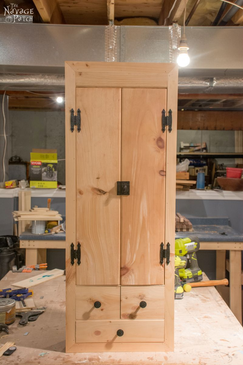 DIY In-Wall First Aid Cabinet   Step-by-step built-in tutorial   DIY first aid cabinet   How to built a small cabinet   Inexpensive DIY furniture   Home decor and organization   #TheNavagePatch #diy #diyfurniture #cabinet #organization #builtin #farmhouse   TheNavagePatch.com
