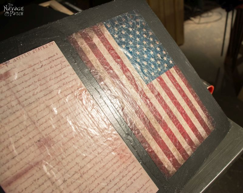 Old Glory & The Declaration of Independence: Patriotic Wall Art   Diy wall art   How to make a frame   Frame and wall art tutorial   Decopuaged wall art   July 4th crafts using mod podge   Old and new American flag   Independence day crafts   Easy & budget crafts   How to make wrinkled decoupage   TheNavagePatch.com