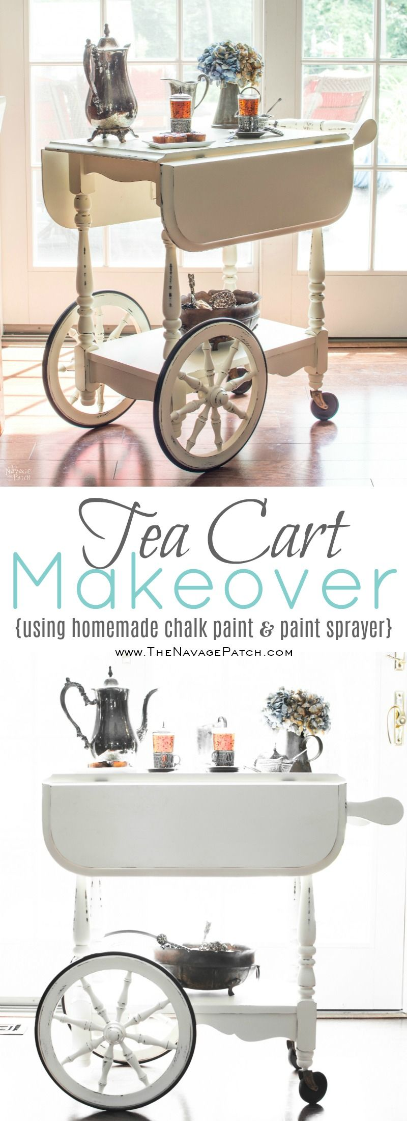 Tea Cart Makeover | DIY furniture makeover | DIY painted furniture with homemade chalk paint | DIY chalk paint | French country decorating | Farmhouse style furniture | Annie Sloan Old White color | How to use homemade chalk paint with paint sprayer | DIY chalk paint recipe | Wagner paint sprayer | Before & After | TheNavagePatch.com