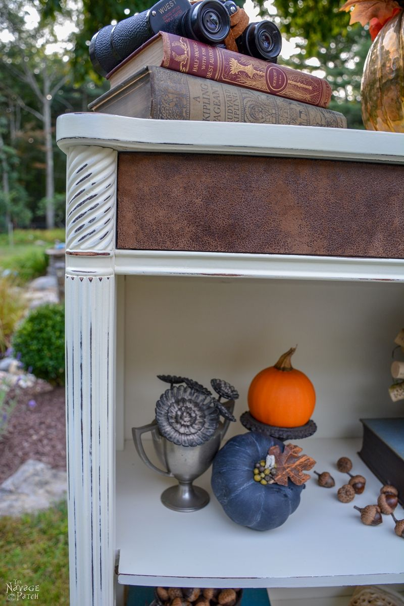 DIY bookcase makeover| Fabric onlay | Bookcase decoration | How to unwarp a board | Homemade chalk paint | Painted furniture | Farmhouse style furniture | Annie Sloan Old White color | Painted and distressed furniture makeover | Ornate furniture | Transformed furniture | Before & After | TheNavagePatch.com