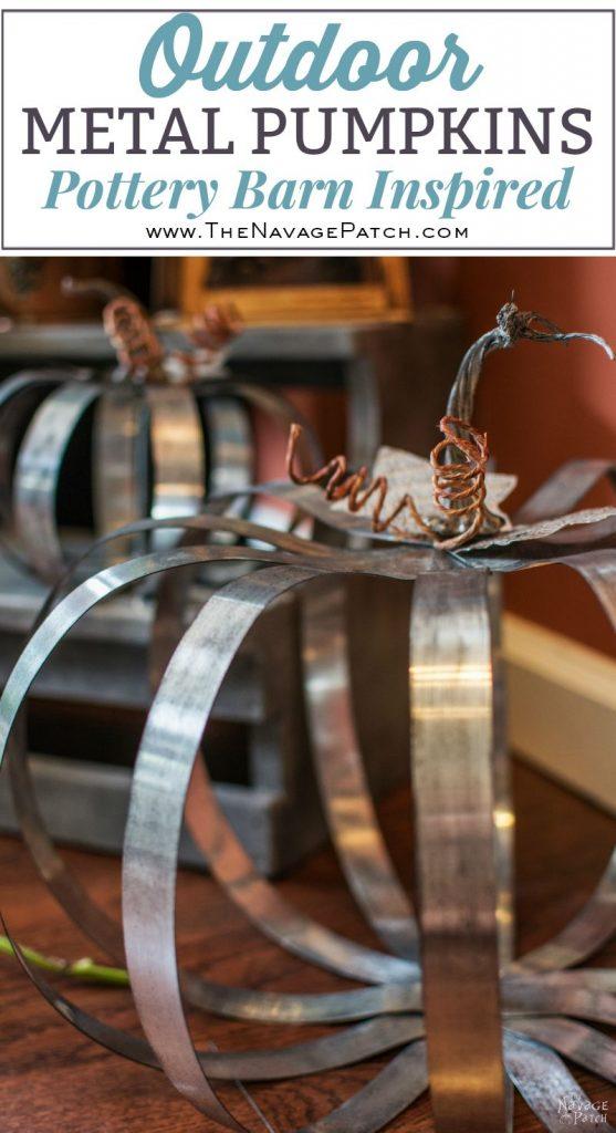 Pottery Barn Inspired Outdoor Metal Pumpkins | DIY fall decor | Pottery Barn knockoff pumpkin | DIY galvanized metal pumpkin tutorial | Fall decoration ideas | Farmhouse decor | #TheNavagePatch #PBknockoff #easydiy #Falldecorideas #pumpkin #falldecor #diy #diypumpkin #thanksgiving #PotteryBarn #MyPotteryBarn #fall #pumpkineverything | TheNavagePatch.com
