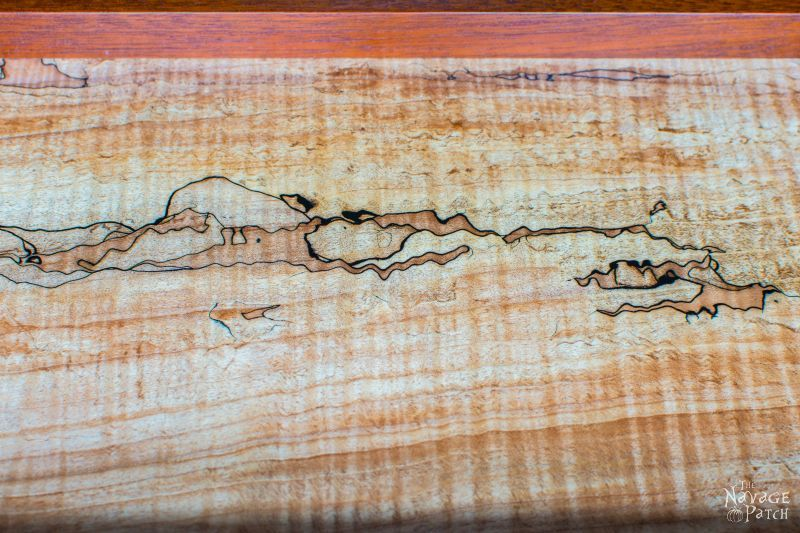 Spalted Maple and Mahogany Tea Tray | Woodworking & diy | How to make an elegant wooden tray | Handmade Victorian style wooden tray | Antique nickel metal onlay | #Woodworking & #diy | TheNavagePatch.com