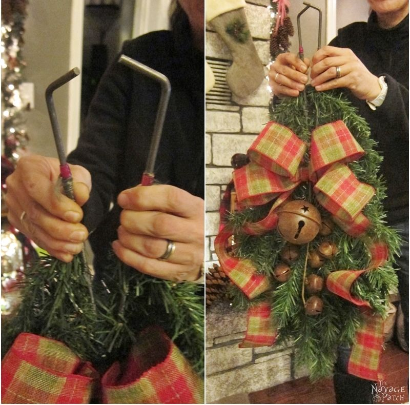 woman opening the clip on the clip-on christmas swag