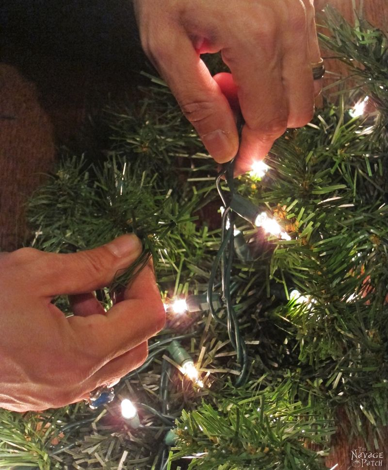 faux christmas tree branches with lights