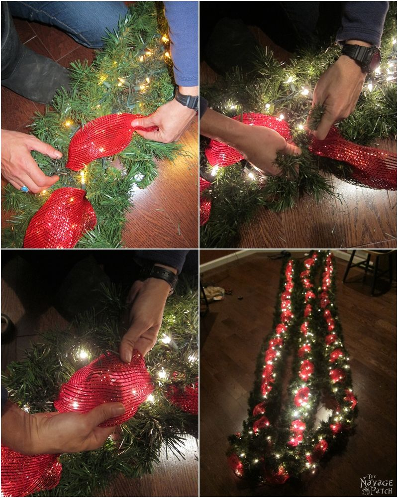 diy outdoor christmas garland with red ribbon