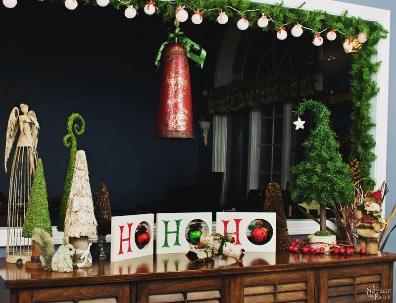 Diy Christmas decoration | HO HO HO Christmas decor | Dollar Store Christmas decoration| Scrap wood home decor | Upcycled Christmas decoration | Cheap & easy crafts | Simple woodworking | Stenciled home decor | Diy chalk paint | How to stencil | Festive home decor | #painted and #stenciled #diy #Christmas #crafts | TheNavagePatch.com