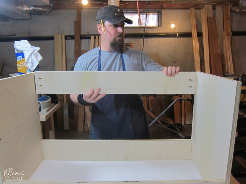 DIY Built-in Media Console | Step-by-step DIY Media Cabinet Tutorial | Free Media Console Plans | How to make a shiplap countertop | How to install shiplap - the easy way | How to install crown molding | Step-by-step cabinetry tutorial | How to add muntins to a glass cabinet door | DIY glass cabinet door | How to add glass to cabinet doors | DIY TV Stand | DIY Cabinetry and woodworking | How to Build a Media Cabinet | Easy DIY furniture and organization | Living room makeover | Before & After | TheNavagePatch.com