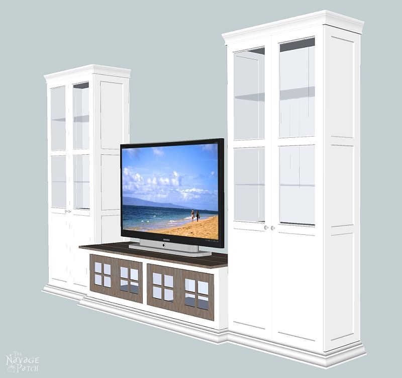 DIY Built-in Media Console   Step-by-step DIY Media Cabinet Tutorial   Free Media Console Plans   How to make a shiplap countertop   How to install shiplap - the easy way   How to install crown molding   Step-by-step cabinetry tutorial   How to add muntins to a glass cabinet door   DIY glass cabinet door   How to add glass to cabinet doors   DIY TV Stand   DIY Cabinetry and woodworking   How to Build a Media Cabinet   Easy DIY furniture and organization   Living room makeover   Before & After   TheNavagePatch.com