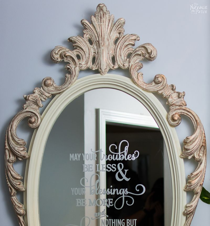 Ornate Mirror Makeover | Free Irish Blessing Stencil Design | How to use metallic wax | DIY chalk paint recipe | Free stencil printable | DIY furniture makeover | How to use homemade chalk paint with paint sprayer | Wagner paint sprayer | #TheNavagePatch #Paintedfurniture #Furnituremakeover #Wagner #freeprintable #freestencil #HowTo #diy #paintsprayer #homedecor | TheNavagePatch.com