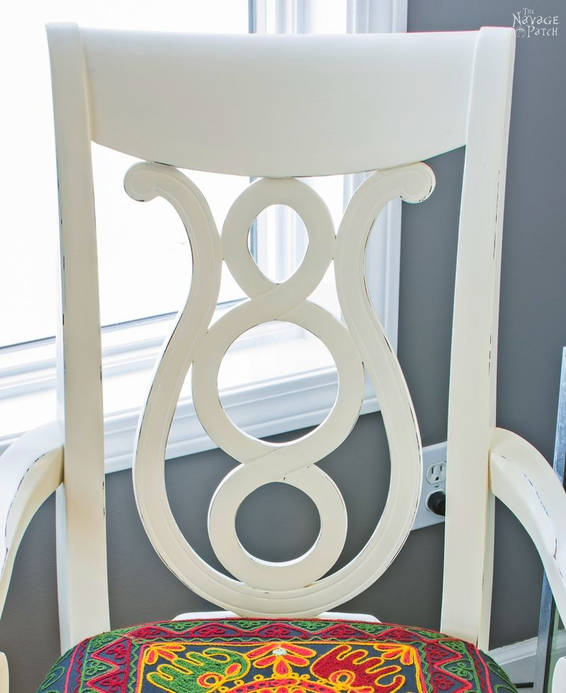 Accent chair makeover | Painted and reupholstered armchair | Homemade chalk paint | Boho style upholstery | How upholster with Indian tapestry | DIY painted and upholstered chair | Easy and budget-friendly DIY furniture makeover | DIY chalk paint recipe | Before & After | TheNavagePatch.com
