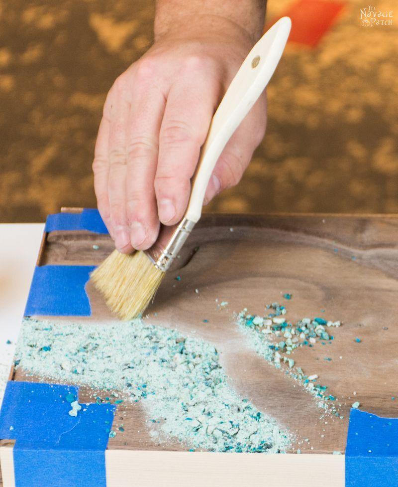 DIY Turquoise Inlay Cheese Board | Handmade cutting board | How to make a cutting board | DIY stone inlay | How to inlay turquoise stone | How to crush turquoise for inlay | How to apply food safe varnish | #TheNavagePatch #diy #tutorial #cuttingboard #turquoise #stoneart #kitchen #homedecor #DIYhomedecor #woodworking #gemstone #cheeseboard #easyentertaining #chef #cheeseboardideas | TheNavagePatch.com