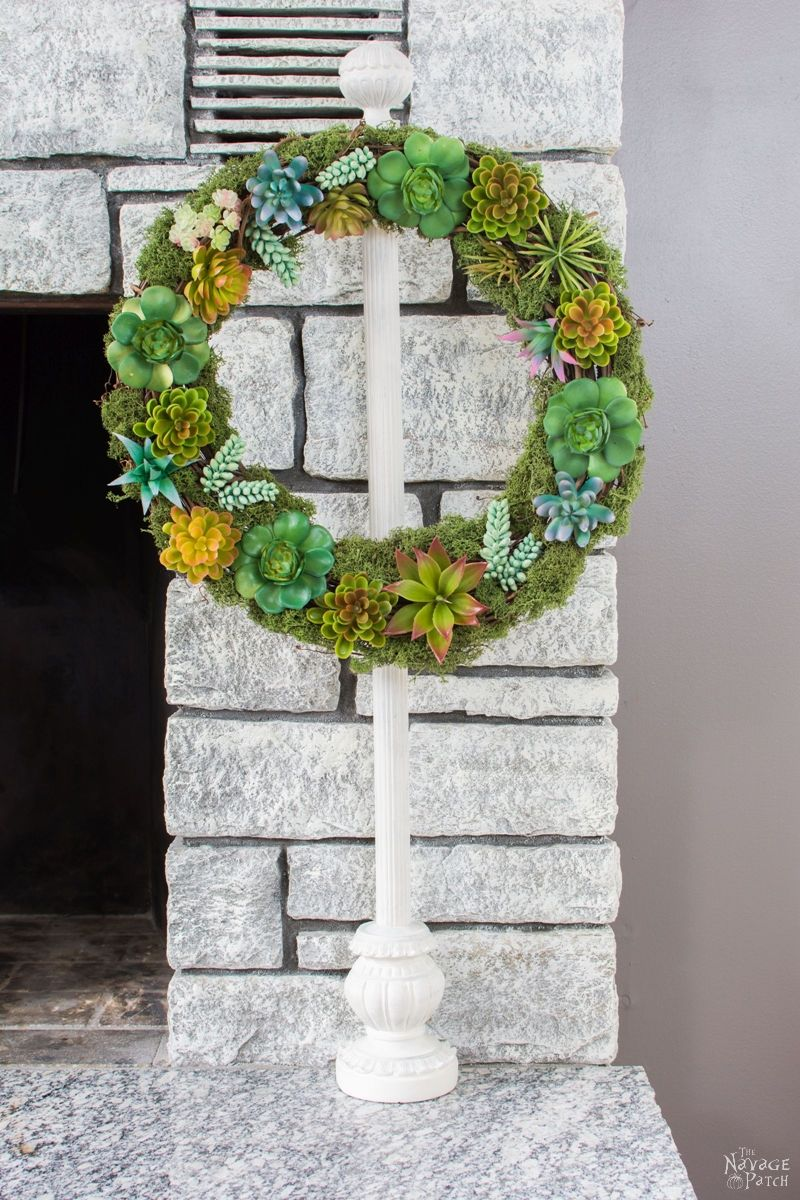 DIY Faux Succulent Wreath   How to make a beautiful spring wreath with faux succulent and moss   Easy and budget friendly home decor   Farmhouse decor   Pottery Barn inspired succulent wreath   Knock-off home decor   Dollar Store crafts   DIY door and wall decor   TheNavagePatch.com