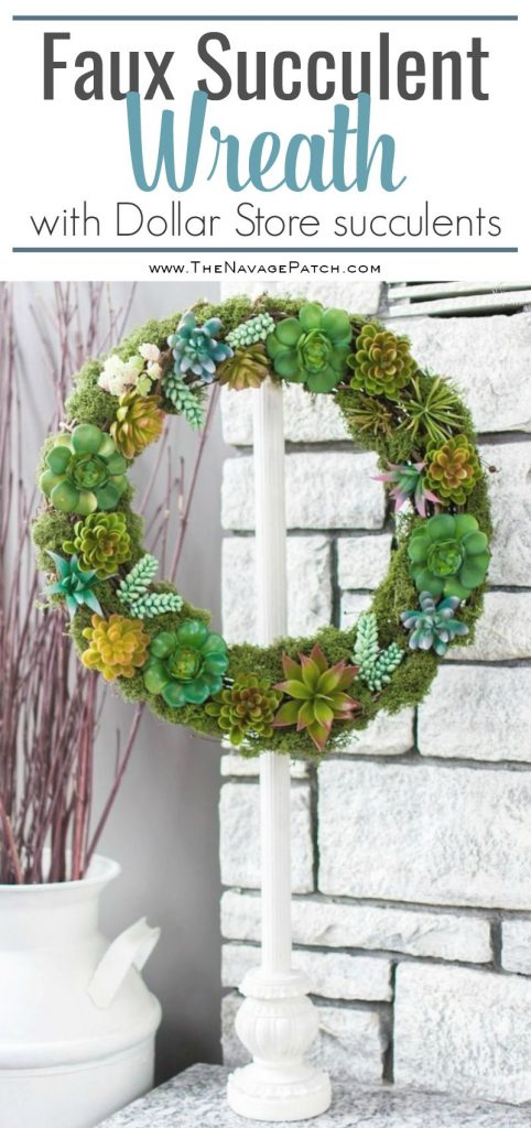 DIY Faux Succulent Wreath | How to make a beautiful spring wreath with faux succulent and moss | Easy and budget friendly home decor | Farmhouse decor | Pottery Barn inspired succulent wreath | Knock-off home decor | Dollar Store crafts | DIY door and wall decor | TheNavagePatch.com