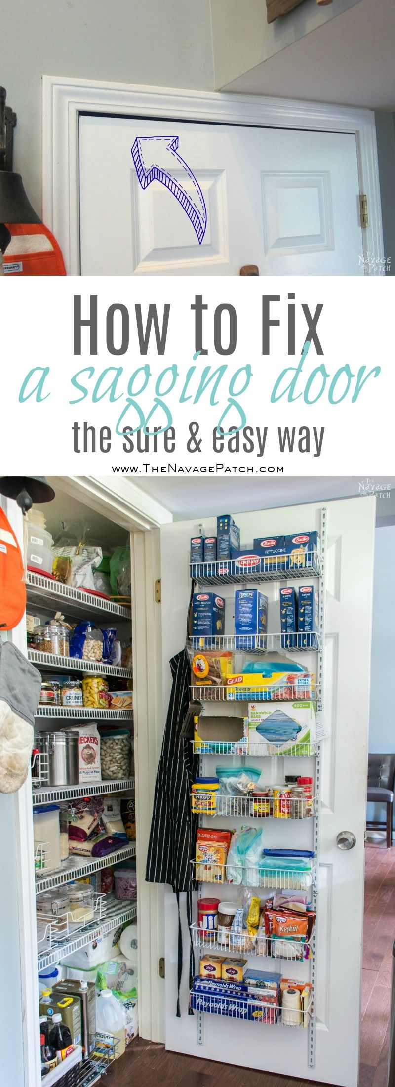 Pantry Makeover | DIY pantry organization ideas | How to fix a sagging door | How to install a door organizer | How to repair a crooked door | How to fix a sticking door | DIY pantry door fix | Pantry cleaning | How to install wire pantry shelves the easy way | How to make the most of a small pantry | Small pantry organization ideas | Before & After | TheNavagePatch.com