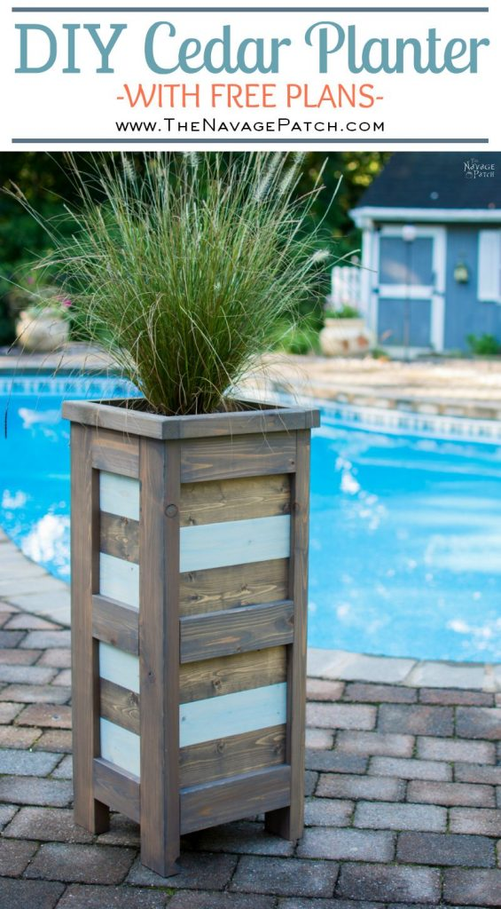 DIY Cedar Planter With Free Plans | How to build an outdoor cedar planter box | #FreePlans #DIY #CurbAppeal #TheNavagePatch #Garden| DIY coastal style tall and slim wood planter | How to build a square cedar planter | Create the perfect curb appeal with this budget friendly DIY planter| TheNavagePatch.com